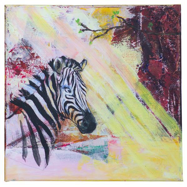 هنر نقاشی و گرافیک محفل نقاشی و گرافیک Oksana Canvas, wooden frame, acrylic paints  The picture creates an interesting exciting mood in contrast with the abstract background and a little more realistic head of a zebra.
