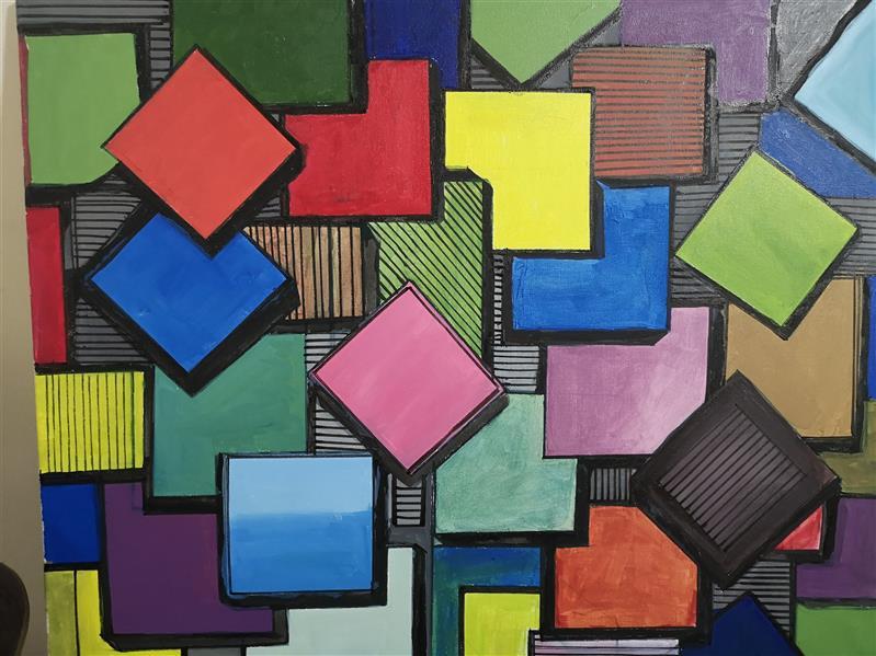 هنر نقاشی و گرافیک محفل نقاشی و گرافیک wajid masiullah  acrylic painting 3 d style abstract