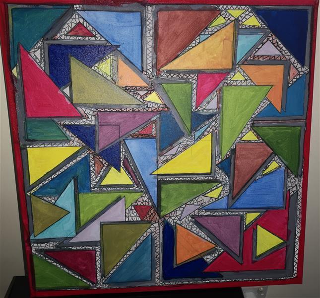 هنر نقاشی و گرافیک محفل نقاشی و گرافیک wajid masiullah  acrylic painting wajid art2 3 d style triangle