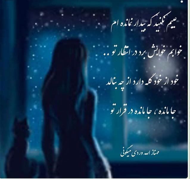 هنر شعر و داستان محفل شعر و داستان مهناز الله وردی میگونی عیبم نکنید که بیدار نمانده ام   خوابم خوابش برد در انتظار تو .. خود از خود گله دارد از چه بنالد جا مانده جا مانده در قرار تو ، شبخوش، مهناز الله وردی میگونی، شعرمیگون