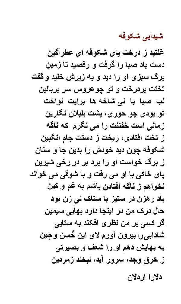 هنر شعر و داستان محفل شعر و داستان delaram ardalan شیدایی شکوفه  خرق به معنای شکاف