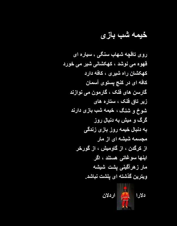 هنر شعر و داستان محفل شعر و داستان delaram ardalan خیمه شب بازی