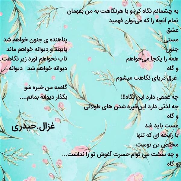 هنر شعر و داستان محفل شعر و داستان ghazal-heidari دیوانگی عالمی دارد...