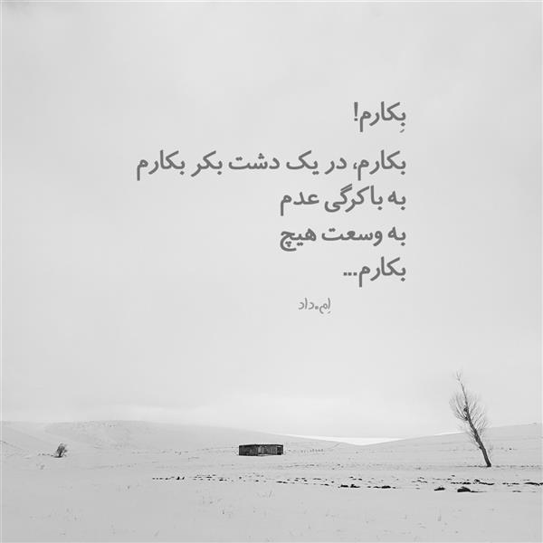 """هنر شعر و داستان محفل شعر و داستان محمد دادستان بِکارم! بکارم، در یک دشت بکر بکارم به باکرگی عدم به وسعت هیچ بکارم میوه خواهم داد به شیرینیِ شیرین به جانِ دلِ مجنون بکارم من پُربارم به آشفتگی موج مثالِ گله در اوج گلهای بالا رفته از کوه چریده و چیده به تمام خواستههایش رسیده بکارم من خوشخوارم از برای نُشخوارم زیرِ تابش آفتاب رَها خلسهای ناب از تفکر خالی دشت یکسره گُل یکسره پاک میوزد باد از تعلق آزاد  """"اِم.داد"""" ••• عنوان عکس: Italic عکاس: Instagram.com/dadsetan.mohammad #جمله_قصار #فلسفی #بشر #کوتاه"""