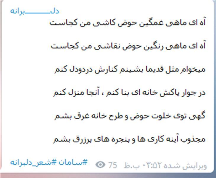 هنر شعر و داستان محفل شعر و داستان سامان ایرانی ماهی غمگین ...