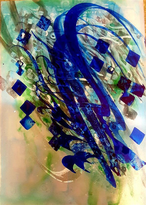 هنر خوشنویسی محفل خوشنویسی سهیلا احمدی ۵۰×۷۰ اکرولیک و مرکب فروخته شد