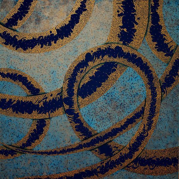 هنر خوشنویسی محفل خوشنویسی سهیلا احمدی بوم سفارشی چارچوب ، چوب راش با قاب طلایی اکرولیک