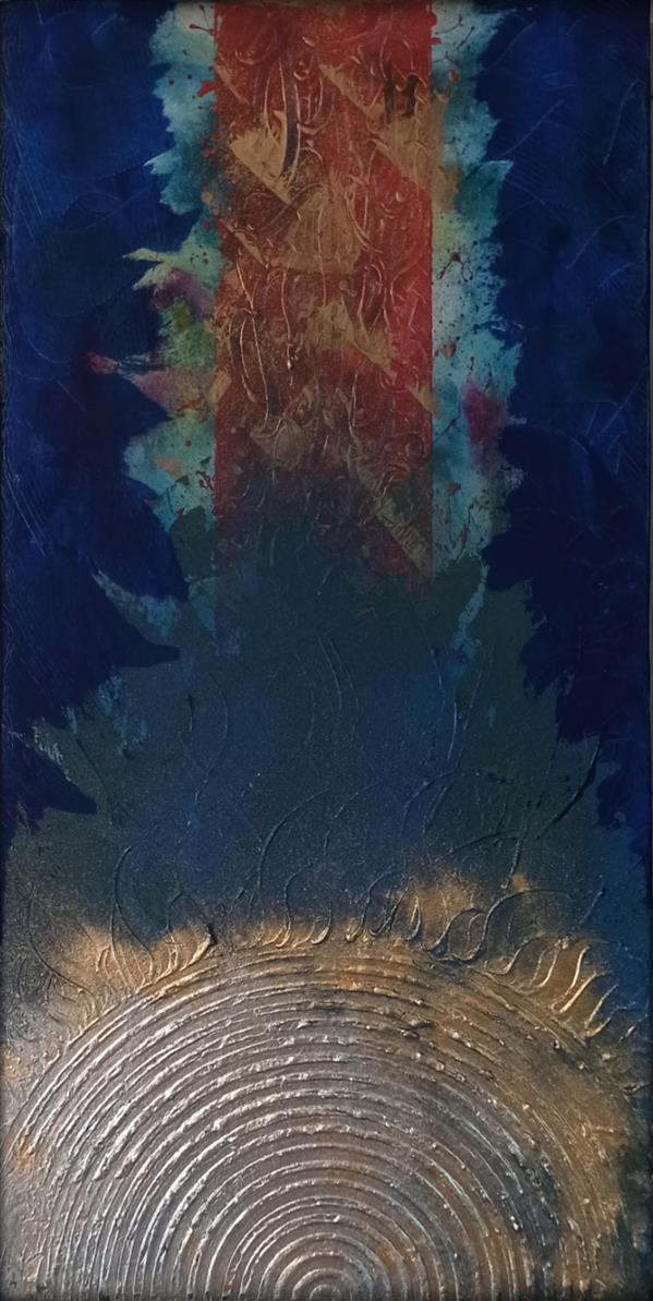 هنر خوشنویسی محفل خوشنویسی مرتضی علیپور کوثری تابلونقاشیخط متریال:بوم تکنیک:اکریلیک و ترکیب مواد