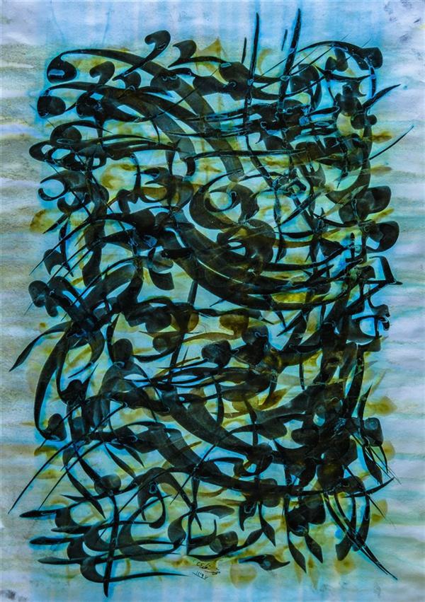 هنر خوشنویسی محفل خوشنویسی محمد مظهری (فروخته شد) به هر راهی که دانستم فرو رفتم به بوی تو، کنون عاجز فرو ماندم رهی دیگر نمی دانم. (عطار) ۷۰×۵۰