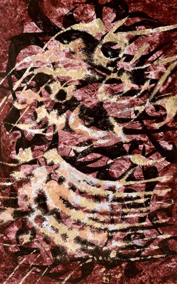 هنر خوشنویسی محفل خوشنویسی محمد مظهری یک عمری بُگذرونُم با غم و درد، به کام دل نگرده آسمونُم... (باباطاهر) اجرای مصرع اول سال ۹۷ با مرکب. اجرای مصرع دوم سال ۹۹ با ورق فلزات.  زمینه اثر اکریلیک، پرس شده روی مقوای ماکت، قاب چوبی ۴۰×۵۰ (قلم ۱.۵سانتی)