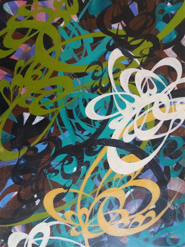 هنر خوشنویسی محفل خوشنویسی مسعود درستکار نقاشیخط.اکرولیک روی مقوا.۳۵.۴۵.بدون احتساب پاسپارته