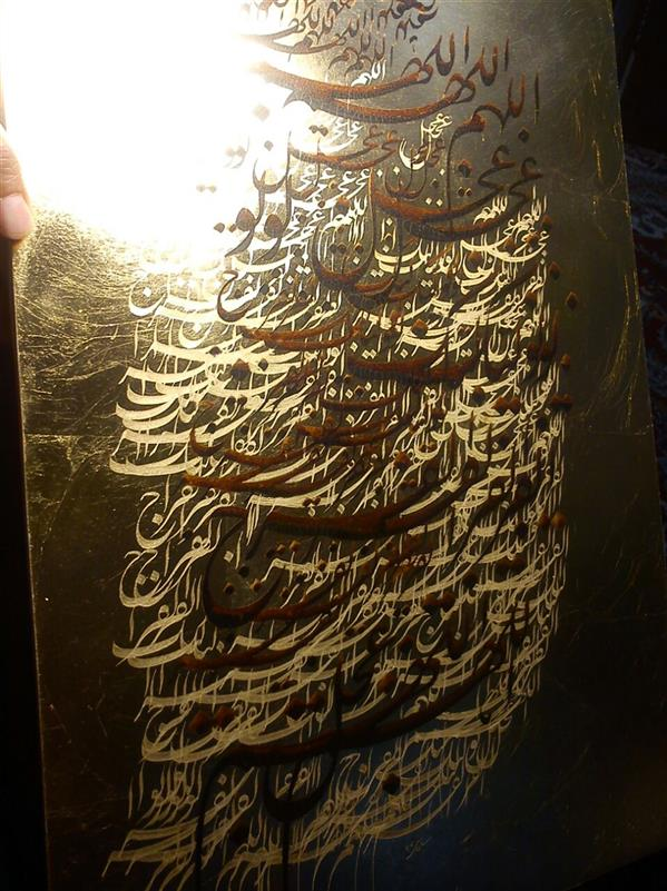هنر خوشنویسی محفل خوشنویسی شیوا #سیاه مشق— دعای فرج — اجرا شده روی ورق طلا—مرکب سنتی