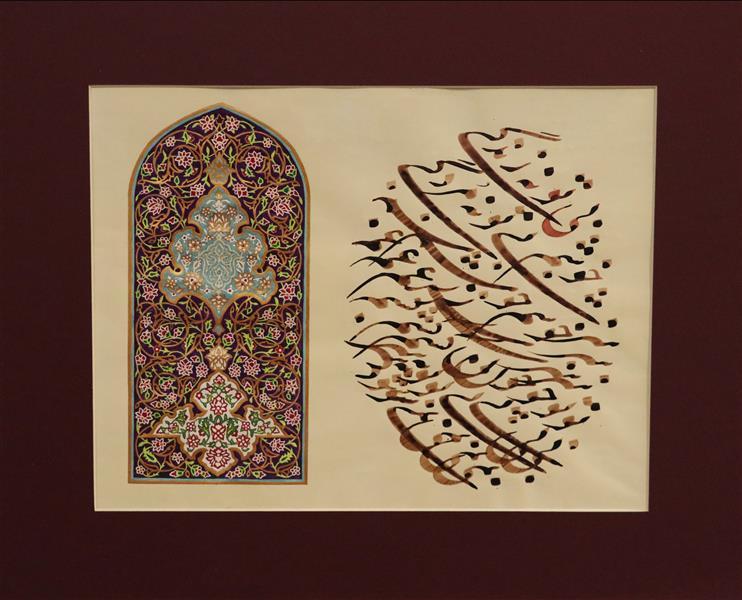 هنر خوشنویسی محفل خوشنویسی سارا عبادی جوهر،آبرنگ و قرص طلا بر روی کاغذ #خطاطی #آبرنگ #نستعلیق # نقاشی خط #تذهیب