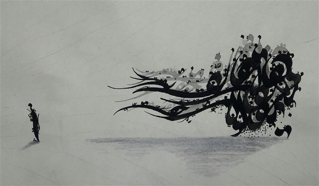 هنر خوشنویسی محفل خوشنویسی رضا امیرخانی رفت آن سوار کولی با خود تو را نبرده...  ۲۵×۴۰ مقوا و مرکب
