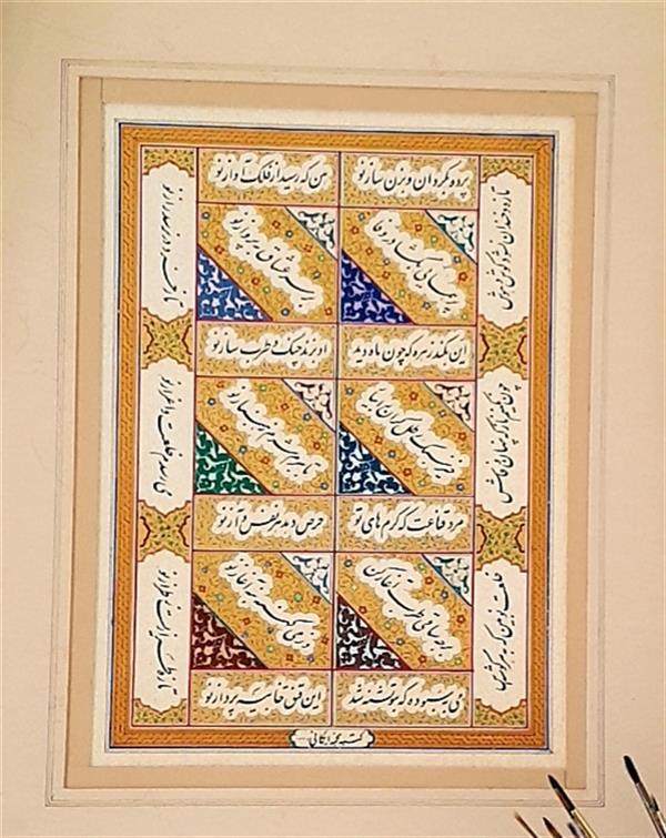 هنر خوشنویسی محفل خوشنویسی نجمه ایگانی #کتابت#استاد_محمد_رضا_شجریان#نستعلیق اندازه اثر با پاسپارتو35&50