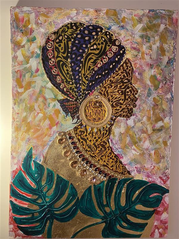 هنر خوشنویسی محفل خوشنویسی مریسا محمدى از مجموعه زنان نقاشیخط_میکس مدیا 60* 80 اکریلیک و ورق طلا روى بوم