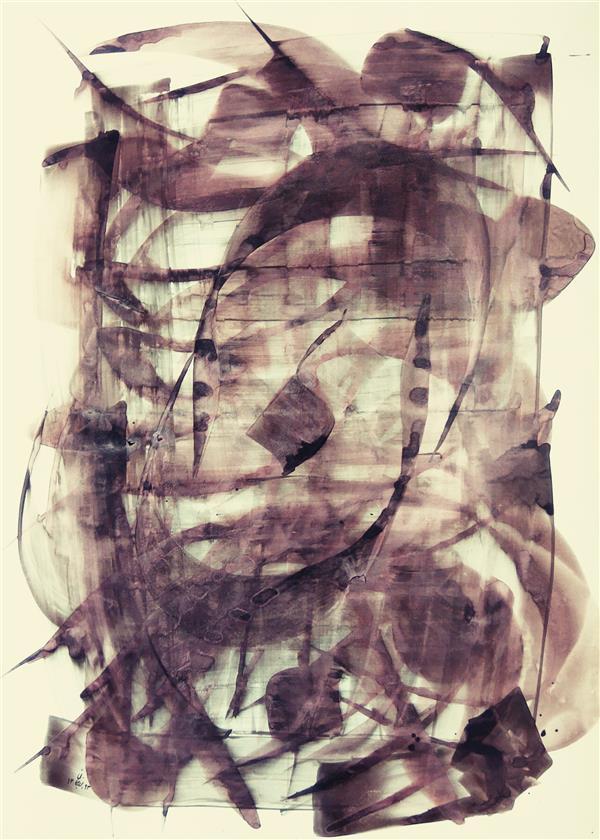 هنر خوشنویسی محفل خوشنویسی حبیب اله برزجان ن والقلم -50×70  - بر روی کاغذ # نقاشیخط#