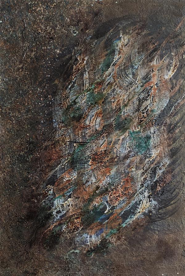 هنر خوشنویسی محفل خوشنویسی مسعود محبی اثر نقاشیخط آبستره. ابعاد70*50. تکنیک ترکیب مواد نام اثر:هارمونی رنگ