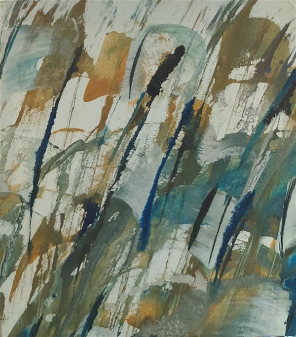 هنر خوشنویسی محفل خوشنویسی مسعود محبی اثر نقاشیخط آبستره. ابعاد20*20. تکنیک ترکیب مواد نام اثر:مهر