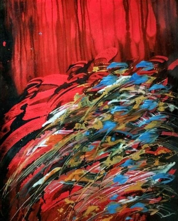 هنر خوشنویسی محفل خوشنویسی مسعود محبی اثر نقاشیخط آبستره. ابعاد70*50. تکنیک ترکیب مواد نام اثر:رحمن