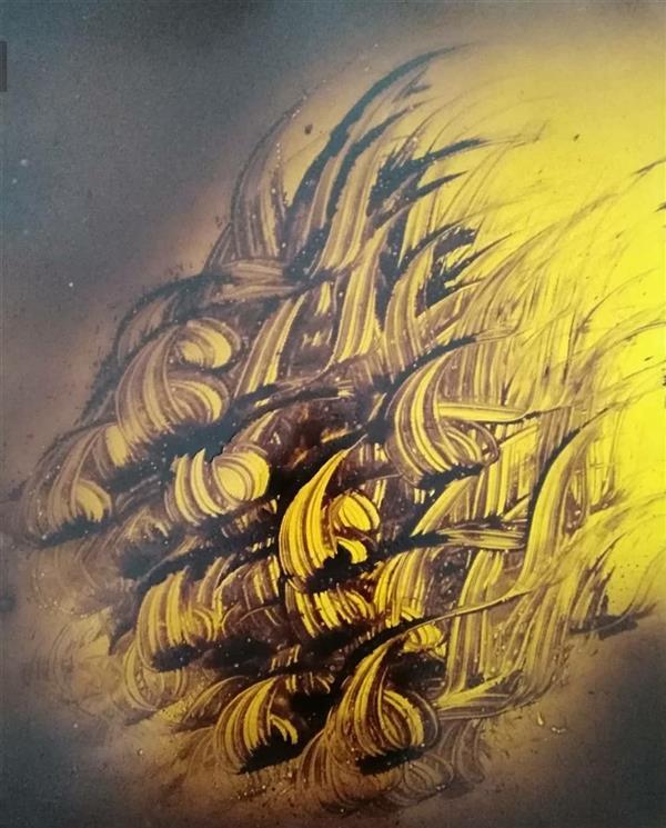 هنر خوشنویسی محفل خوشنویسی مسعود محبی اثر نقاشیخط آبستره. ابعاد70*50. تکنیک ترکیب مواد نام اثر:عروج