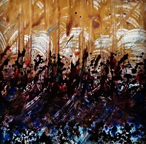 هنر خوشنویسی محفل خوشنویسی مسعود محبی اثر نقاشیخط آبستره. ابعاد70*50. تکنیک ترکیب مواد نام اثر:نینوا