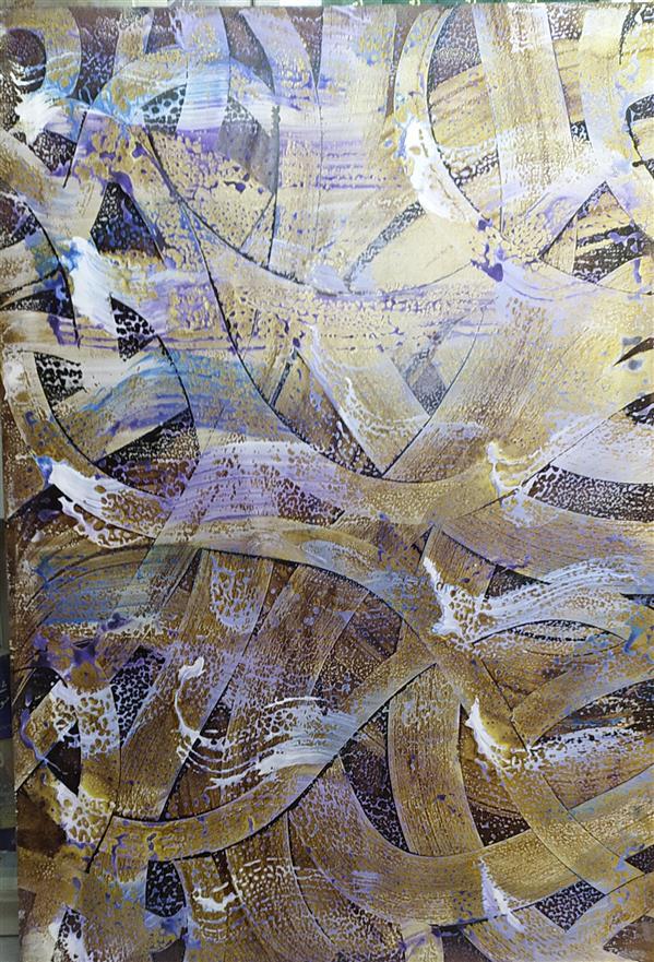 هنر خوشنویسی محفل خوشنویسی مسعود محبی اثر نقاشیخط آبستره. ابعاد70*100. تکنیک ترکیب مواد نام اثر:رهایی