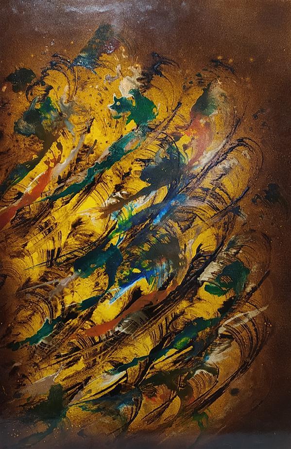 هنر خوشنویسی محفل خوشنویسی مسعود محبی اثر نقاشیخط آبستره. ابعاد70*50. تکنیک ترکیب مواد نام اثر:فریاد