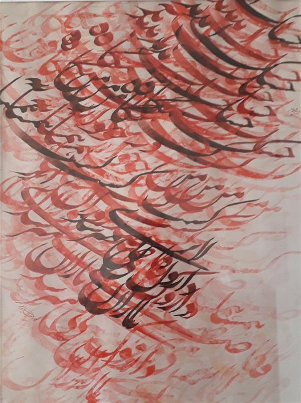 هنر خوشنویسی محفل خوشنویسی جواد مهدی پور #تابلوخط : سیاه مشق نستعلیق خشک آمد کشتگاه من.... از نیما یوشیج #تکنیک: مرکب  #ابعاد : ۶۰ × ۸۰ (با پاسپارتو و قاب)