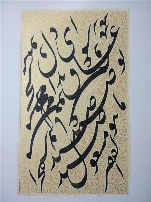 هنر خوشنویسی محفل خوشنویسی محمدبیگدلی سیاه مشق کاغذ دست ساز آهارمهره با تذهیب