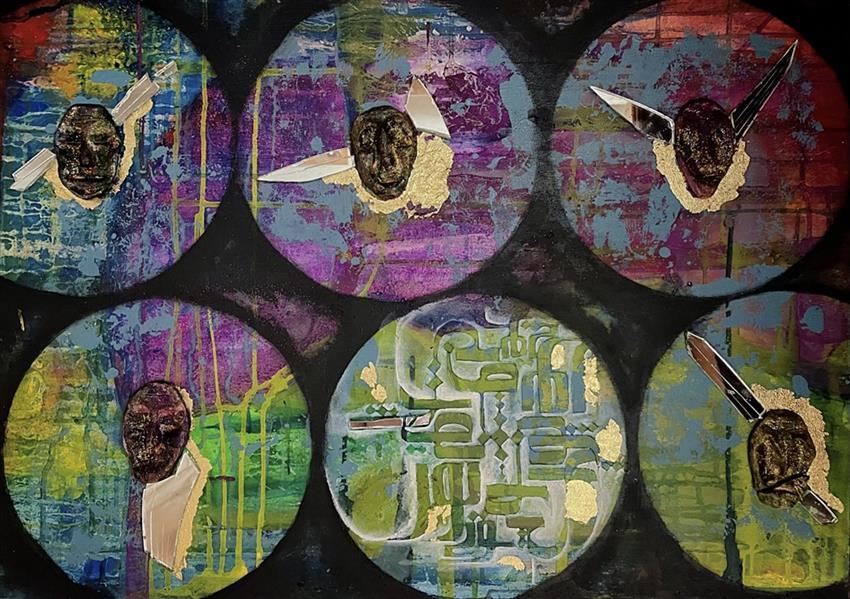هنر خوشنویسی محفل خوشنویسی Sahar afrooz  از مجموعه یار تویی☂️ اکرلیک. کلاژ از صورتک های سفالی و تکه های آینه روی کنواس . 50x70. #نقاشیخط  #فونت_نشاط  #نور_تویی_سور_تویی_دولت_منصور_تویی  #acrylicpainting #calligraphy #uaremywholeworld #earthpainting #art #painting #paintingart #poemoftheday #paintingoftheday #artwork #acrylic #figuredrawing