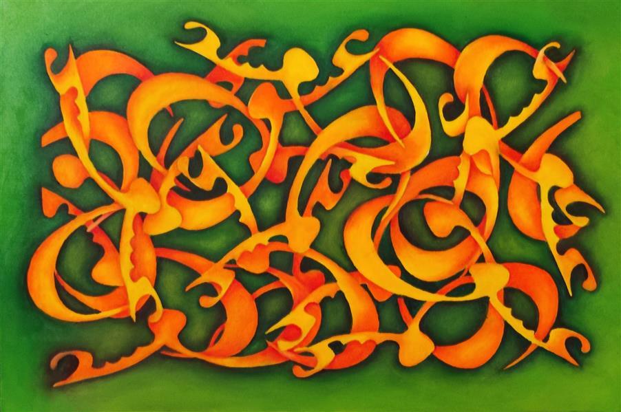 هنر خوشنویسی محفل خوشنویسی مهدی حجازی نقاشی خط رنگ روغن روی بوم ۴۰در۶۰ با موضوع عشق #نقاشیخط #نقاشی_خط #عشق
