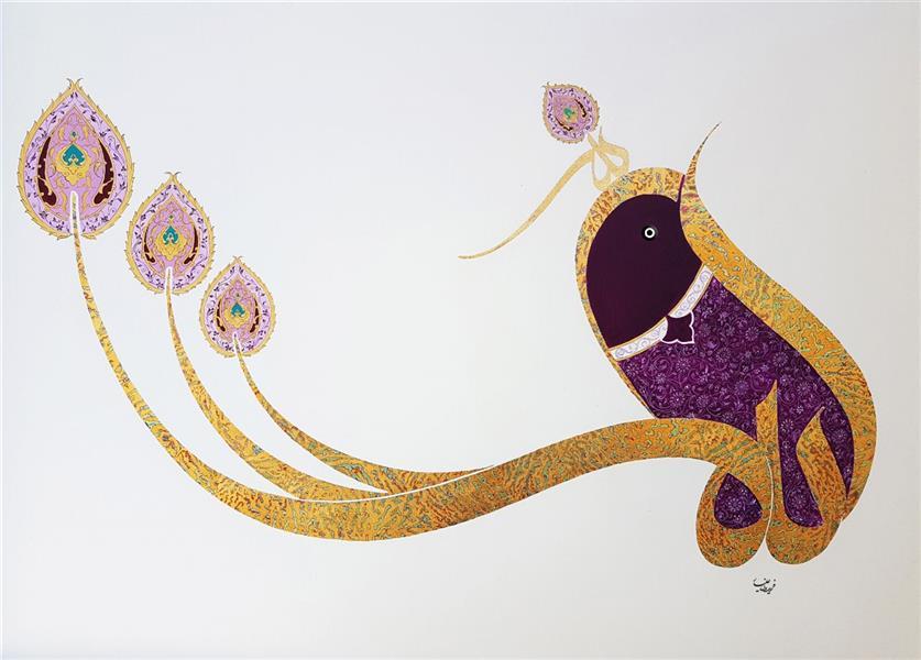 هنر خوشنویسی محفل خوشنویسی فریدون علیار الله - ورق طلا و اکرولیک با تذهیب روی بوم ۱۰۰×۷۰