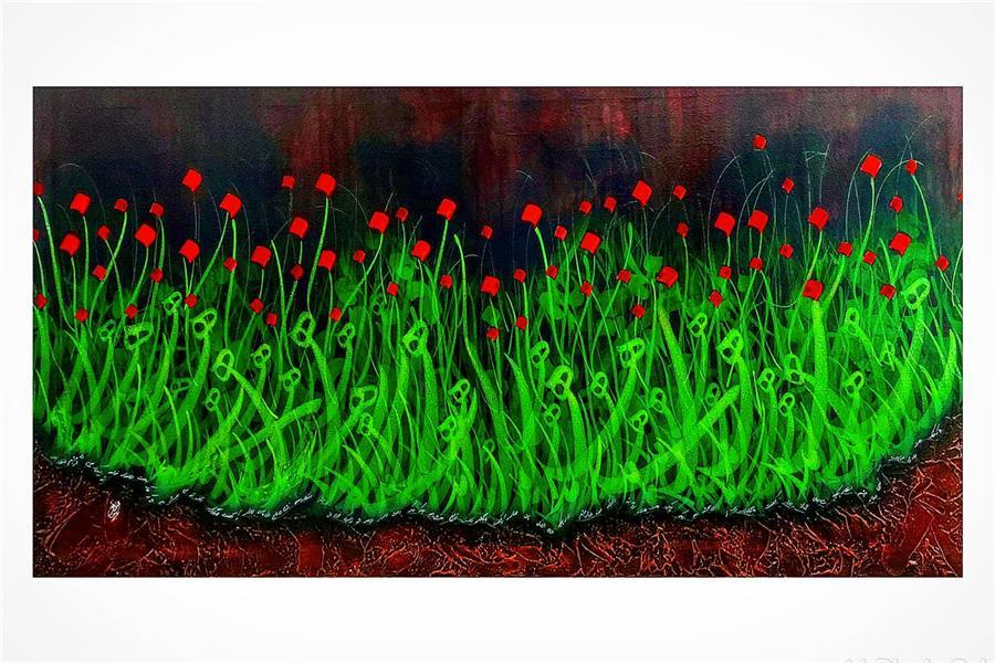 هنر خوشنویسی محفل خوشنویسی گالری خوشنویسی چلیپا بیا که خاک رهت لاله زار خواهد شد زبس که خون دل از چشم انتظار چکید  تکنیک:اکرولیک روی پارچه بوم و ترکیب مواد