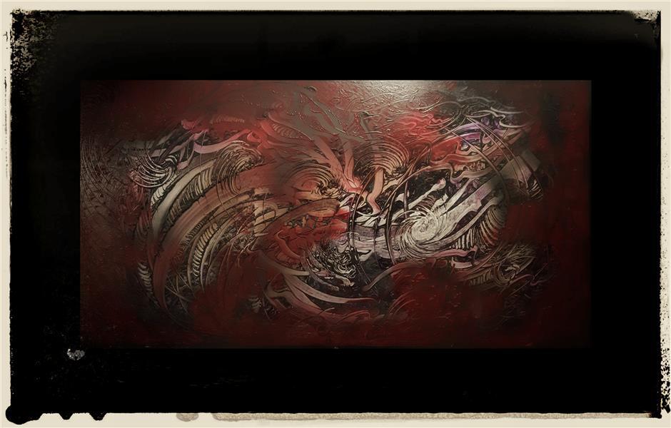هنر خوشنویسی محفل خوشنویسی علی حسن پور رنگ روغن روی بوم  ابعاد ۱۰۰ ×۱۵۰ مستان سلامت میکنند (مولانا) #فروخته_شد