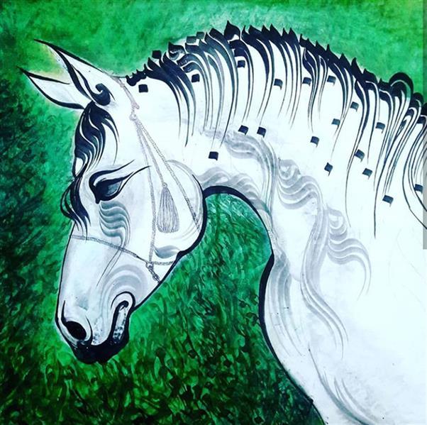 هنر خوشنویسی محفل خوشنویسی شکوفه برزگر ملکی نقاشیخط با تکنیک اکرولیک روی بوم. ابعاد 100 در 70