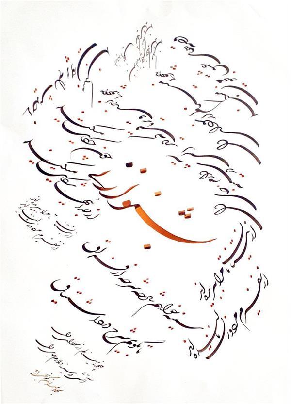 هنر خوشنویسی محفل خوشنویسی مهران گونجی بشنو از نی ابعاد ۳۵ در ۵۰