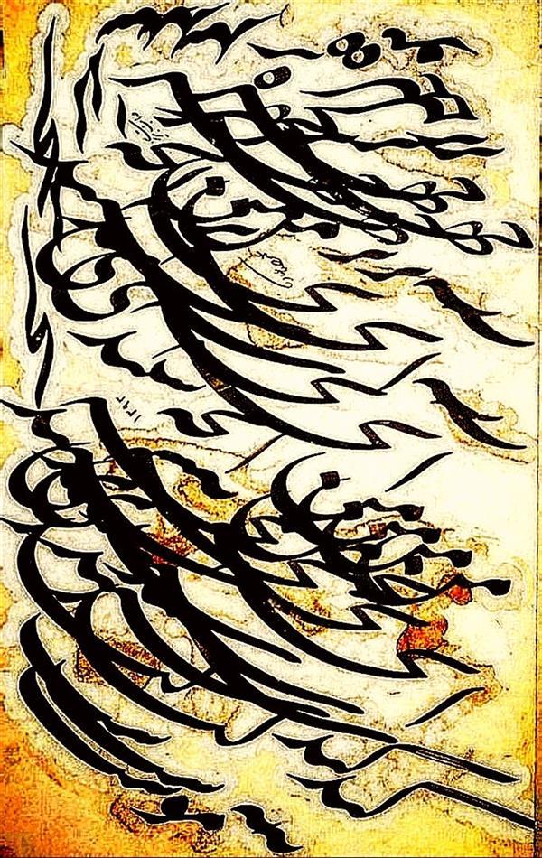 هنر خوشنویسی محفل خوشنویسی علیرضاعبادی قطعه سیاه مشق،قلم چهاردانگ،طلاکوبی،قطاعی متن:بر چهره من آنچه سپیدی کند نه مُوست،ابعاد:۵۰×۶۰