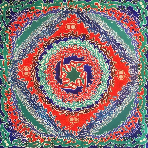هنر خوشنویسی محفل خوشنویسی arman sardari 80×80 اکرلیک روی بوم