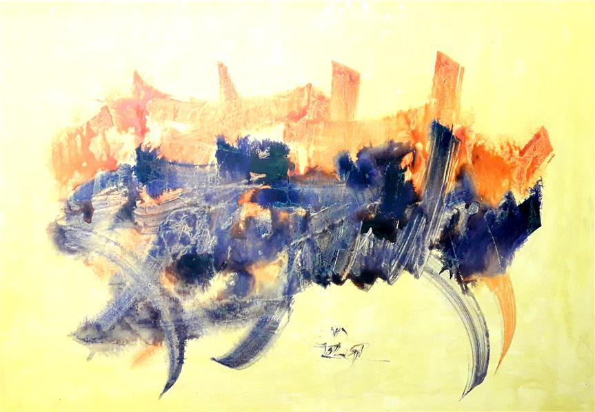 هنر خوشنویسی محفل خوشنویسی ابراهیم دلاوران تابلو نقاشیخط روی بوم ۱۰۰*۷۰ اکرلیک