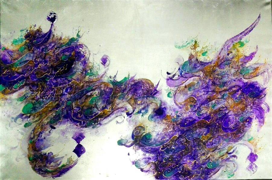 هنر خوشنویسی محفل خوشنویسی مرجان میرخاتمی بسم الله الرحمن الرحیم اندازه:100*80 ترکیب مواد و ورق نقره سال 96