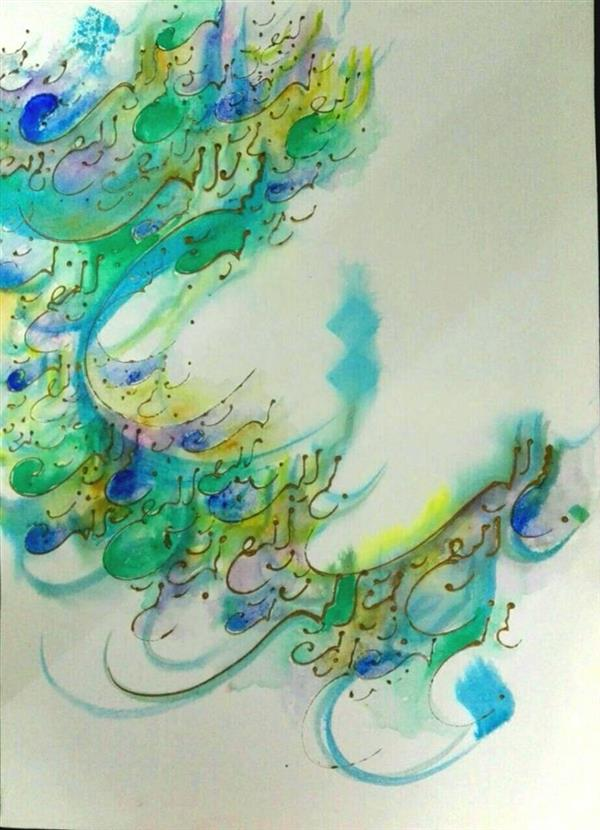 هنر خوشنویسی محفل خوشنویسی مرجان میرخاتمی بسم الله الرحمن الرحیم اندازه:50*70 ترکیب مواد #نقاشیخط #مرجان_میرخاتمی