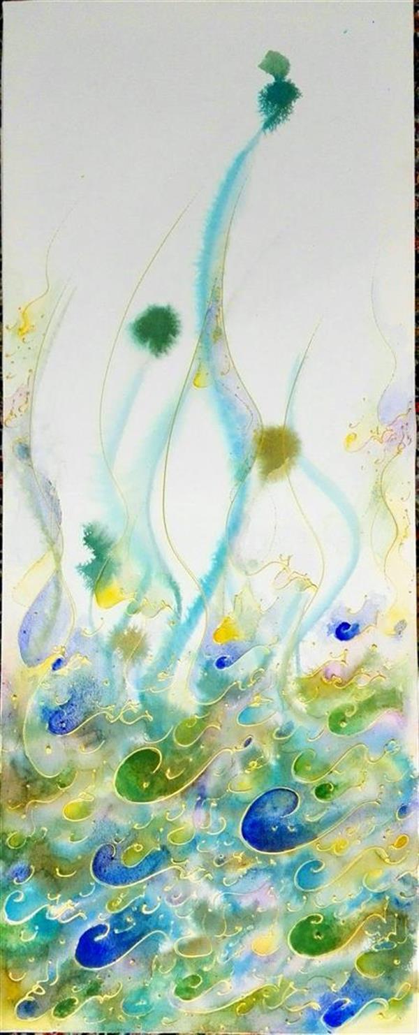 هنر خوشنویسی محفل خوشنویسی مرجان میرخاتمی صلوات  ترکیب مواد اندازه:100*40 سال 96