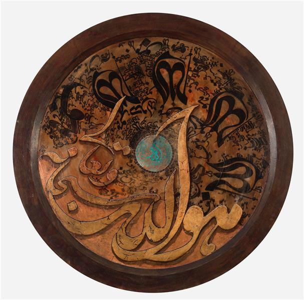 هنر خوشنویسی محفل خوشنویسی محمدرضا جوادی نسب هوالله سبحانه و تعالی ترکیب مواد بر روی بومقاب دایره  #نقاشیخط #کالیگرافی