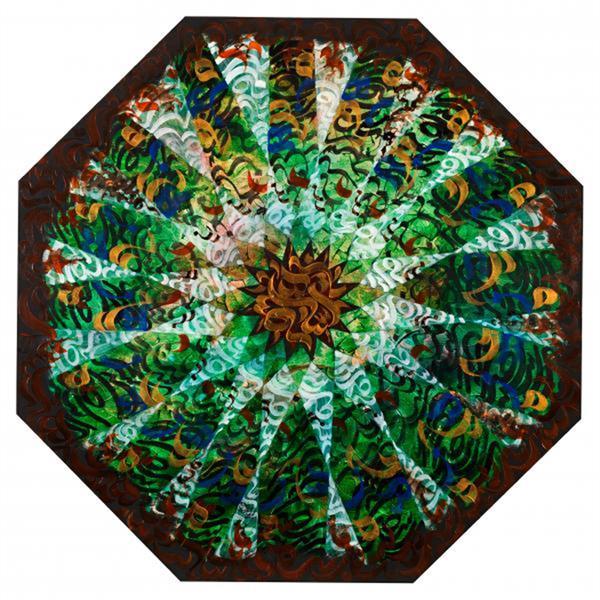 هنر خوشنویسی محفل خوشنویسی محمدرضا جوادی نسب فرم نویسی بر روی بوم 8 ضلعی با الهام از نقش طاق آرانگاه حافظ