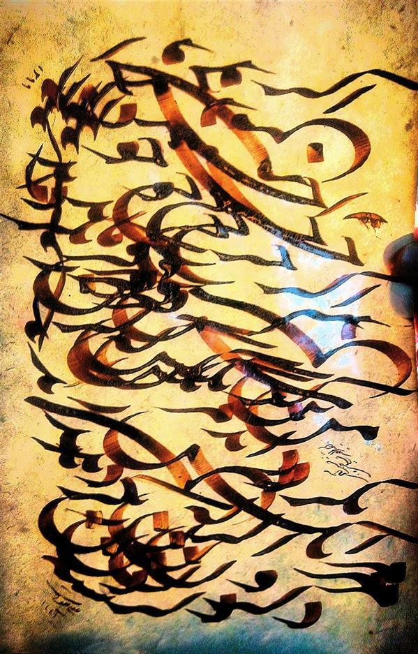 هنر خوشنویسی محفل خوشنویسی علی خیری حبیب آبادی #سیاه_مشق با قلم جلی هشت میل