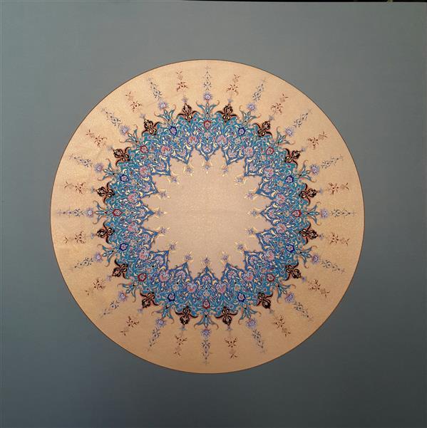 هنر خوشنویسی محفل خوشنویسی زینالی #تذهیب #شمسه با پاسپارتو  گواش و آبرنگ  #فروشی