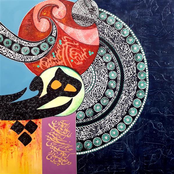 هنر سایر محفل سایر هنر ها جواد یوسف زاده خورشید عشق... ۱۲۰×۱۲۰....اکرولیک و مرکب روی بوم