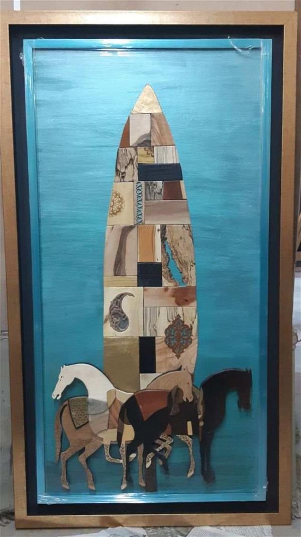 هنر سایر محفل سایر هنر ها افسانه ملانظری معرق چیدمان متریال:چوب ایینه فلز سایز:۱۱۰×۶۰