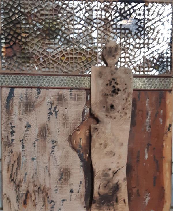 هنر سایر محفل سایر هنر ها محسن تشخوریان #کلاژ  # چوب -خاتم -اینه اسید شور شده-رزین سایز ۶۰*۵۰